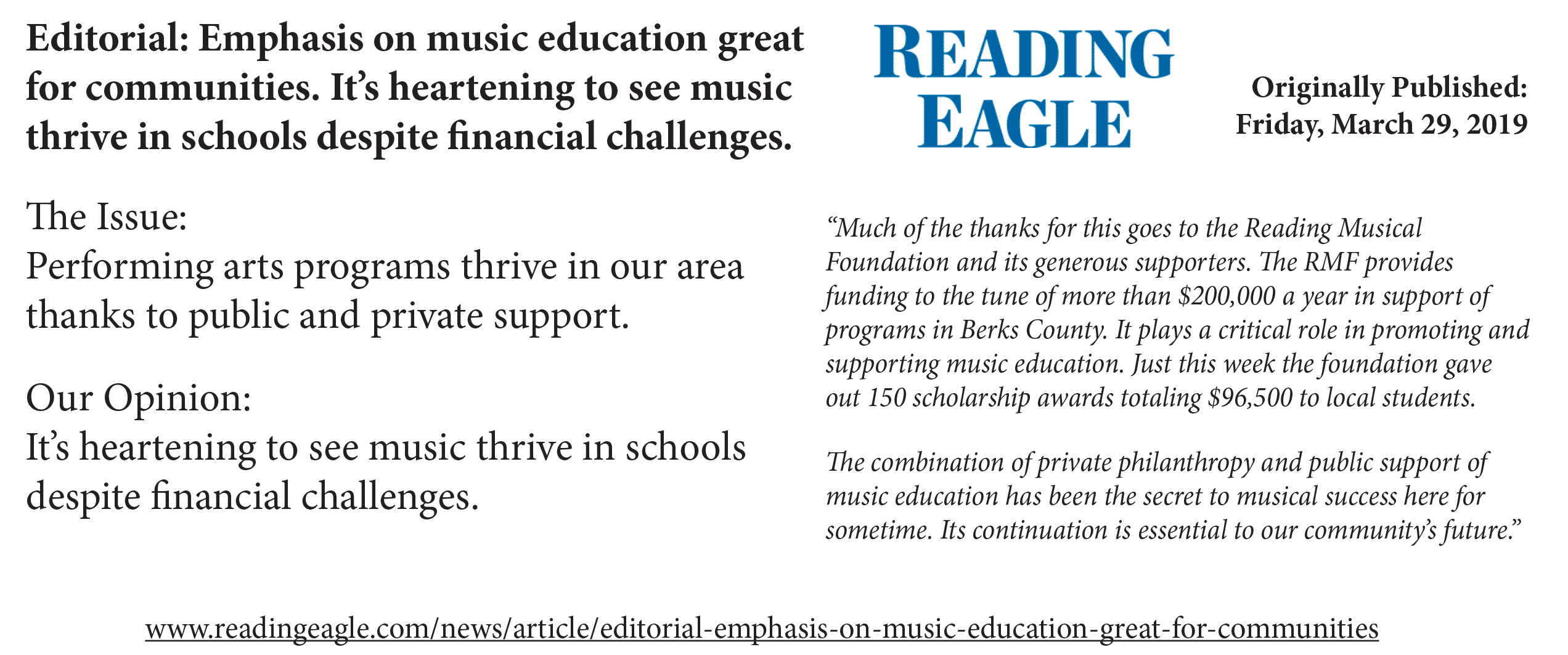 Reading Eagle Editorial- March 29- Music Education